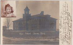 Michigan MI Real Photo RPPC Postcard c1910 MASON Hgh School Building Student