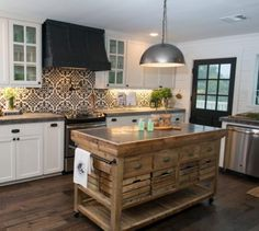 """Dimensions: 67"""" x 29.5"""" x 37.5"""" Made of wood and marble. Sometimes you just need to add a touch of raw wood to your kitchen. If this piece looks familiar, it's because you've seen it on Fixer Upper."""