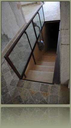Idea for scary garage steps. Need to secure step area while providing light and security. Basement Entrance, Basement Windows, Basement Stairs, House Stairs, Garage Steps, Cellar Design, Trap Door, Underground Bunker, Safe Room