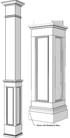 """Square Half Recessed Panelled Column, Paint Grade Wood column made from unprimed MDF, 8 ft tall, 7 5/8"""" square, 6 5/8"""" inside and with 1/2"""" thick sides. The paneled portion is 38"""" high, made to compliment our Elite Recessed Wall Paneled SKU SRPC-PG US$ 199.00"""