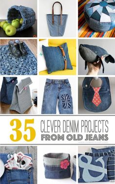 35 Clever Projects from OLD DENIM JEANS