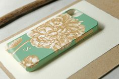 Monogrammed iPhone 5S Case, Mint Green and Gold Peony iPhone 4 Case, Floral iPhone 5, iPhone 5C Case