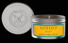 "Votivo ""Mango Melange"" Aromatic Travel Tin $13  The tangy nectar of ripe mango sipped from a cool umbrella-adorned drink. A dewy ocean breeze carries the scent of sweet coconut milk and a whisper of exotic blooms that decorate the lush, blissful landscape - accompanied by palm trees dancing to the rhythmic beat of crashing waves."