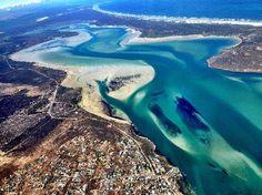 Langebaan lagoon and the Myburgh Park suburb to the bottom of the photo. #langebaan #lagoon #myburghpark
