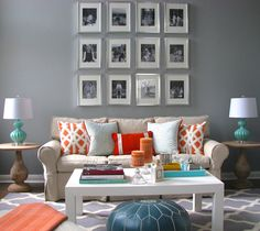 Benjamin Moore STORM. Turquoise and orange family room