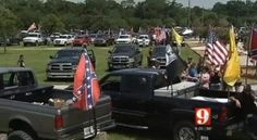 Confederate flag supporters flock to the 'Florida Southern Pride Ride' are shot at