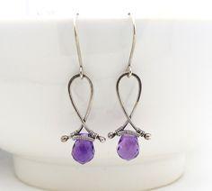 Purple amethyst earrings, Amethyst briolette earrings, Wire wrapped earrings, Handmade Sterling silver amethyst jewelry via Etsy.