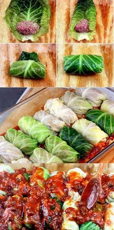 Amazing Stuffed Cabbage Rolls - Tender leaves of cabbage stuffed and rolled with beef, garlic, onion and rice, simmered in a rich tomato sauce. Prep time: 30 mins Cook time: 2 hours Total time: 2 hours 30 mins Yield: 6 to 8 servings I Love Food, Good Food, Yummy Food, Beef Dishes, Food Dishes, Main Dishes, Dinner Dishes, Great Recipes, Dinner Recipes