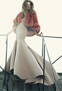 Orchid silk #gown and orange cape, #ZacPosen.