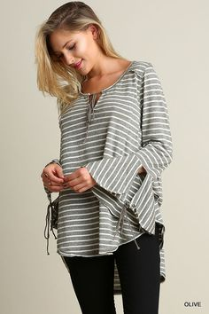 804a4fcbdb6 Umgee USA Wide Neck Top Bell Sleeves High Low Hemline Striped Olive Size  Small  9.95 Boho