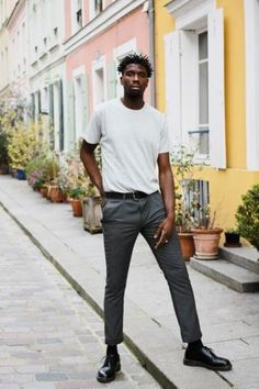 Smart trousers with t-shirt. Shop this look at The Idle Man #StyleMadeEasy