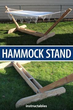 This simple and elegant wooden hammock stand is great for a backyard, patio, or wherever you have space. Awesome Woodworking Ideas, Woodworking Box, Woodworking Projects Diy, Diy Wood Projects, Garden Projects, Woodworking Supplies, Woodworking Furniture, Woodworking Organization, Woodworking Equipment