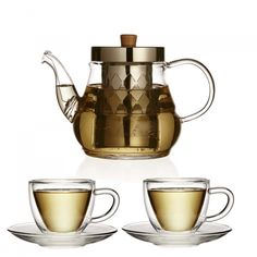 This tea for two gift set includes a glass infuser teapot and 2 x double walled tea cups with saucers. The perfect gift for a stylish tea lover. Tea Gift Sets, Tea Gifts, Teapot, Cup And Saucer, Tea Cups, Stainless Steel, Snacks, Tableware, Glass