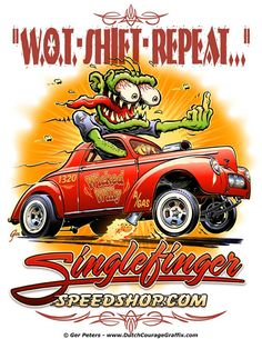 """Wicked Willy"" - Willys Gasser poster artwork for Singlefinger Speed Shop #drag #racing #Willys #gasser #coupe #monster #weirdo #poster #artwork"