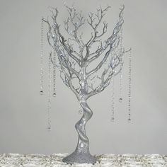 Battery Operated Glittered Silver Manzanita Tree Centerpiece For Wedding Party Event Table Top Decoration With LED Lights + Acrylic Chains Silver Wedding Decorations, Wedding Centerpieces, Silver Centerpiece, Manzanita Tree Centerpieces, Rama Seca, Wedding Expenses, Hanging Crystals, Winter Wonderland Wedding, String Of Pearls