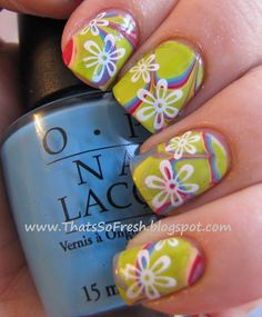 Funky water marbling with white flowers overtop. Seems a little 80s...which I love!