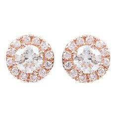 570d01941 Greenwich Collection Halo Diamond Stud Earrings in Rose Gold- 0.42 TWT |  Greenwich Jewelers Greenwich