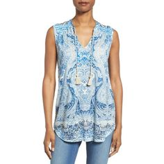 Women's Lucky Brand Paisley Jersey Shell ($50) ❤ liked on Polyvore featuring tops, blue multi, shell tops, blue top, tie-dye tank tops, strap tank and blue tank top