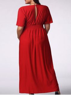 GET $50 NOW | Join RoseGal: Get YOUR $50 NOW!http://m.rosegal.com/plus-size-dresses/elegant-plus-size-plunging-neck-short-sleeve-solid-color-women-s-prom-dress-505094.html?seid=6817401rg505094