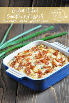 Who needs a loaded baked potato or a twice baked potato when you can have this warm and comforting low carb version - Low Carb Loaded Baked Cauliflower Casserole cauliflower auflauf rezept pizza recipes salad cauliflower Recipe For Loaded Cauliflower, Baked Cauliflower Casserole, Loaded Baked Potato Casserole, Cauliflower Salad, Roasted Cauliflower, Healthy Low Carb Recipes, Low Carb Keto, Keto Foods, Healthy Eats