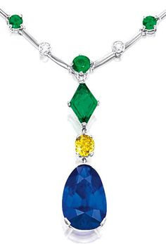 SAPPHIRE, EMERALD, FANCY DEEP YELLOW DIAMOND AND DIAMOND NECKLACE.    Suspending a pear-shaped sapphire weighing 13.38 carats, surmounted by a cushion-shaped fancy deep yellow diamond and a lozenge-shaped emerald weighing 0.83 and 1.76 carats respectively, the necklace alternately-set with circular-cut emeralds and brilliant-cut diamonds weighing 4.45 and 1.79 carats respectively, mounted in platinum, pendant detachable.      Sotheby's.