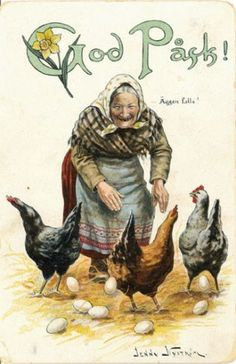 Easter Card - Jenny Nyström...love this Grandma and her chickens.
