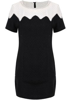 Black Contrast White Shoulder Short Sleeve Bead Dress EUR€27.43