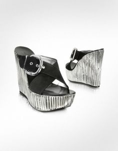 Casadei  Suede and Silver Platform Wedge Shoes