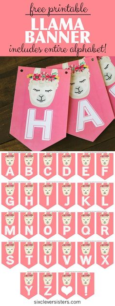 Free printable llama party banner that includes the entire alphabet so you can choose whatever you wish! If you're hosting a llama theme party, this printable llama pennant banner will add some great party decor! Diy Birthday Banner, Diy Banner, Happy Birthday Banners, 50th Birthday, Free Banner, Farm Birthday, Birthday Invitations, Birthday Parties, Birthday Decorations