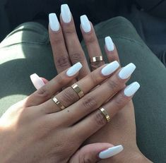 White fake nails designs
