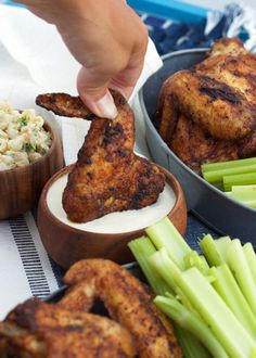 Grilled Old Bay Chicken Wings - The Suburban Soapbox - Easy Grilled Chicken Wings tossed in a spicy Old Bay seasoning…the best wing recipe ever from The - Grilled Chicken Wings, Grilled Chicken Recipes, Chicken Wing Recipes, Grilled Meat, Grilled Steaks, Bbq Chicken Wings, Garlic Chicken, Fried Chicken, Tandoori Chicken