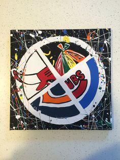 Chicago sports canvas splatter paint