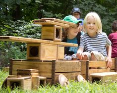 All aboard! There's nothing like Outlast Blocks to inspire outdoor play.