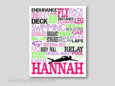 Swimming Typography Art Print Perfect for Girl or by twenty3stars