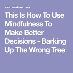 This Is How To Use Mindfulness To Make Better Decisions - Barking Up The Wrong Tree