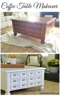 coffee table makeover with link for cute drawer pulls at $0.54 each!!