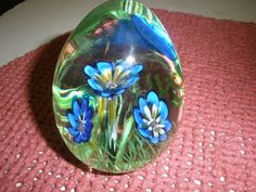 """FRANKLIN MINT - COLLECTOR'S TREASURY OF EGGS - CANE FLOWER GLASS - 3"""""""