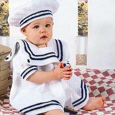 i'l Sailor Dress Set Crochet Patterns ePattern  Peach Sherbet Baby Dress Crochet