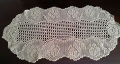 Handmade Oval Table Doily Ivory Rose Filet by GrandmasDowry