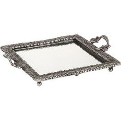 """Baroque-inspired mirrored glass tray with a brass frame in antiqued silver.  Product: TrayConstruction Material: Brass and mirrored glassColor: Antiqued silverDimensions: 1.75"""" H x 14.5"""" W x 11"""" D"""