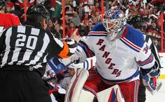 Photo galleries featuring the best action shots from NHL game action. Henrik Lundqvist, Eastern Conference, Stanley Cup Playoffs, Ottawa Ontario, Nhl Games, Referee, New York Rangers, Hockey, Goal