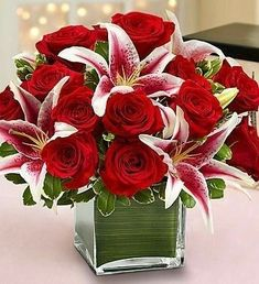 Modern Embrace™ Red Rose & Lily Cube She's always looking for the latest styles and hottest fashion trends. Send this truly original, contemporary bouquet of gorgeous red roses and elegant lilies, han Valentine Bouquet, Valentines Flowers, Mothers Day Flowers, Valentine's Day Flower Arrangements, Rosen Arrangements, Artificial Floral Arrangements, 800 Flowers, Green Flowers, Summer Flowers