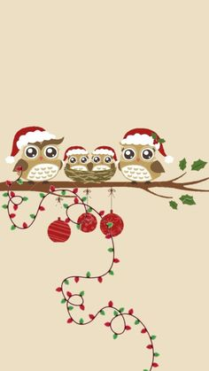 Ideas For Christmas Wallpaper Phone Cute Red - Cellphone Wallpaper Christmas Phone Wallpaper, Holiday Wallpaper, Winter Wallpaper, Christmas Images Wallpaper, Christmas Owls, Winter Christmas, Christmas Time, Christmas Crafts, Family Christmas