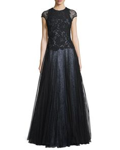 Cap-Sleeve+Lace+Ball+Gown,+Black++by+ML+Monique+Lhuillier+at+Neiman+Marcus.