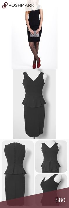 Sexy Anthro Eleanor peplum dress Black curve hugging dress with seamed peplum top. Exposed back zipper. Excellent like new condition. Anthropologie Dresses