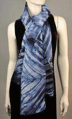 Brighten up any plain dress or outfit, especially if it's too deep in front or back. Indigo White Organza Shibori Silk Silk Scarf created by Michael Kane on Artful Home