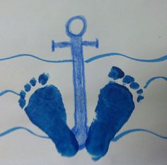 Foot print anchor art fair art toddler art, crafts for kids Ocean Crafts, Baby Crafts, Crafts To Do, Crafts For Kids, Arts And Crafts, Anchor Crafts, Anchor Art, Daycare Crafts, Classroom Crafts