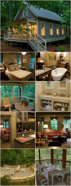 Camp Callaway Cottage is 1091 Sq. Pure Cozyness {Tiny House Tour 15 Photos+V. Camp Callaway Cottage is 1091 Sq. Pure Cozyness {Tiny House To. Small Room Design, Tiny House Design, Cottage Design, Design Homes, Plan Chalet, Cabins And Cottages, Log Cabins, Small Cottages, Tiny House Living