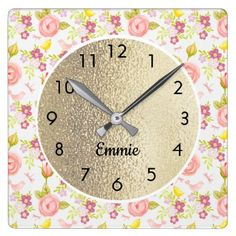 Custom Cute Pink Purple Flowers on White and Gold Square Wall Clock - purple floral style gifts flower flowers diy customize unique