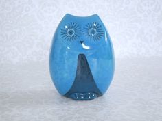 Vintage Baldelli Italy Blue Owl Ceramic Coin by SwirlingOrange11